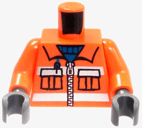 LEGO Orange Safety Jacket with Blue Turtle Neck Loose Torso [Loose]