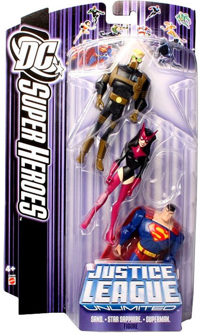 DC Justice League Unlimited Super Heroes Sand, Star Sapphire & Superman Action Figure 3-Pack