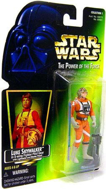 Star Wars A New Hope Power of the Force POTF2 Collection 1 Luke Skywalker in X-Wing Fighter PIlot Gear Action Figure [Hologram Card]