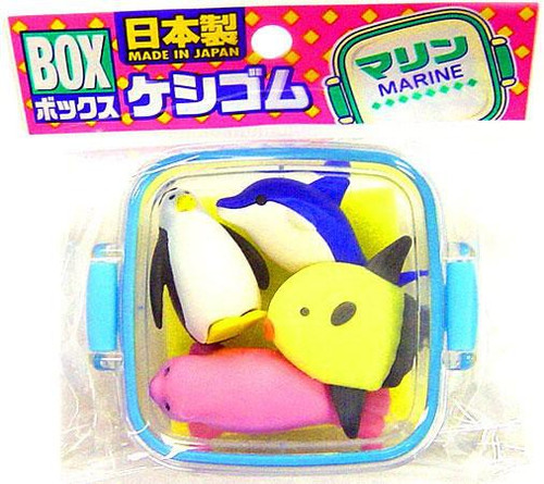 Iwako Marine Life Eraser Set [Blue Case]