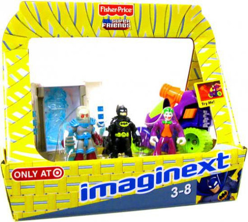 Fisher Price DC Super Friends Imaginext Mr. Freeze with Chamber, Batman & Joker with Motorcycle Exclusive 3-Inch Figure Set