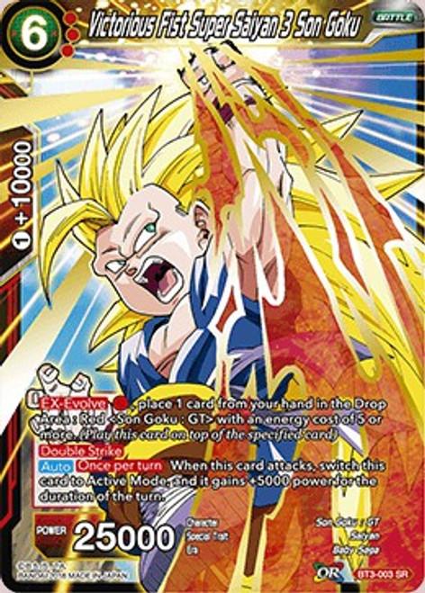 Dragon Ball Super Collectible Card Game Cross Worlds Super Rare Victorious Fist Super Saiyan 3 Son Goku BT3-003