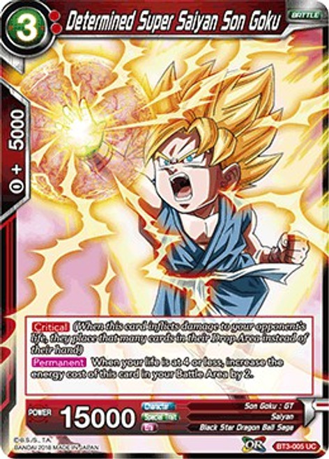 Dragon Ball Super Collectible Card Game Cross Worlds Uncommon Determined Super Saiyan Son Goku BT3-005