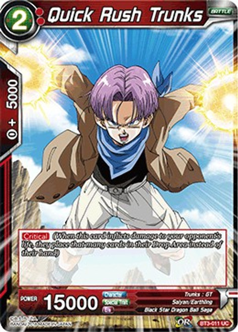 Dragon Ball Super Collectible Card Game Cross Worlds Uncommon Quick Rush Trunks BT3-011