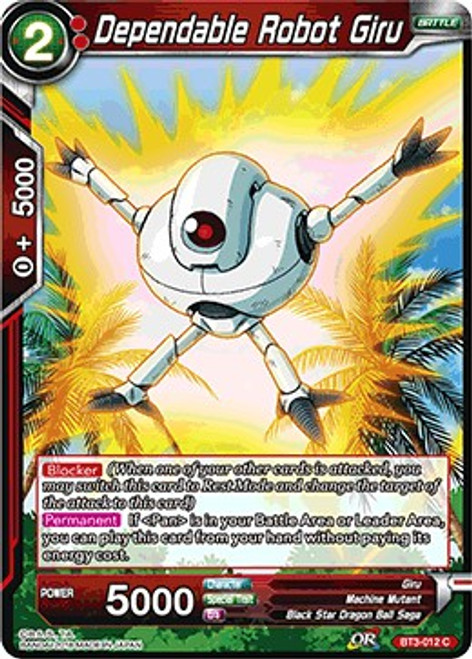 Dragon Ball Super Collectible Card Game Cross Worlds Common Dependable Robot Giru BT3-012