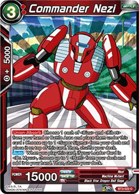 Dragon Ball Super Collectible Card Game Cross Worlds Common Commander Nezi BT3-022