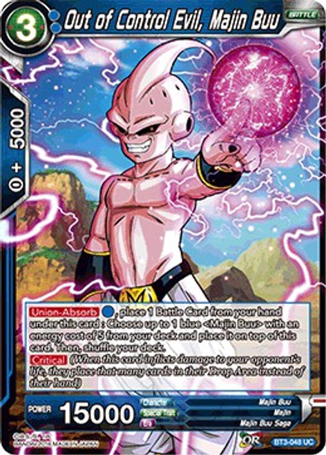 Dragon Ball Super Trading Card Game Cross Worlds Uncommon Out of Control Evil, Majin Buu BT3-048