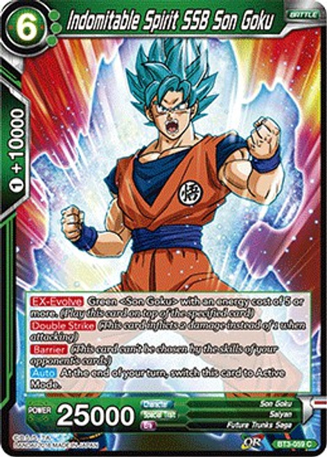 Dragon Ball Super Collectible Card Game Cross Worlds Common Indomitable Spirit SSB Son Goku BT3-059
