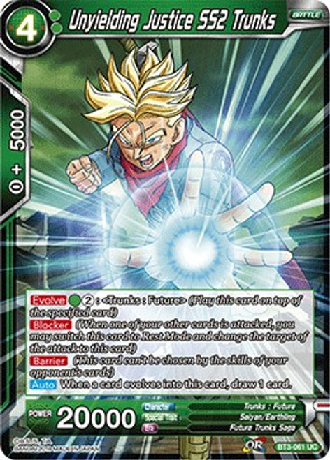 Dragon Ball Super Collectible Card Game Cross Worlds Uncommon Unyielding Justice SS2 Trunks BT3-061