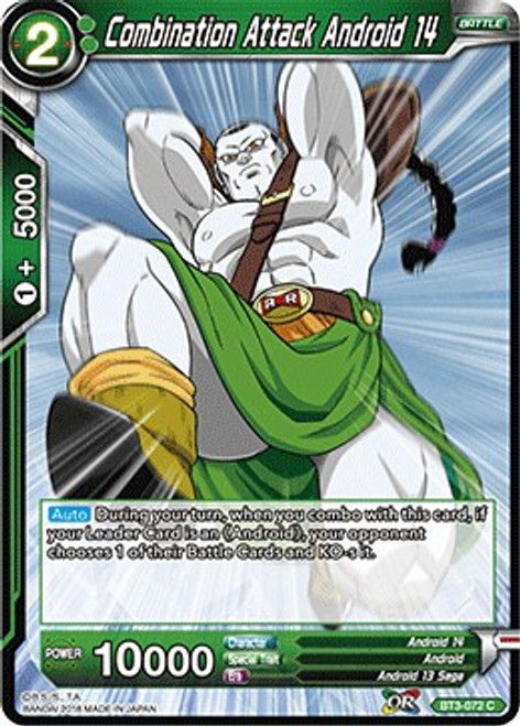 Dragon Ball Super Collectible Card Game Cross Worlds Common Combination Attack Android 14 BT3-072