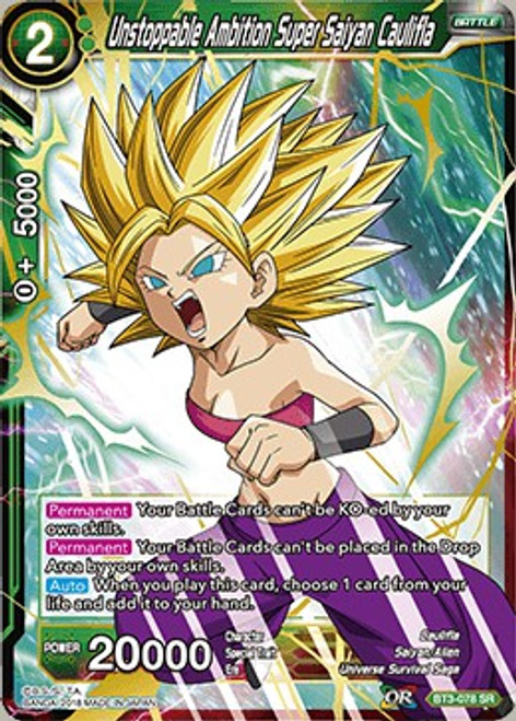 Dragon Ball Super Collectible Card Game Cross Worlds Super Rare Unstoppable Ambition Super Saiyan Caulifla BT3-078