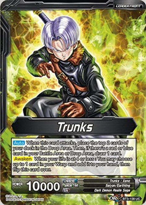 Dragon Ball Super Collectible Card Game Cross Worlds Uncommon Trunks BT3-108
