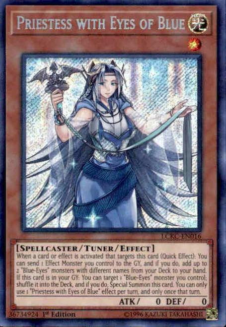 YuGiOh Kaiba Legendary Collection Secret Rare Priestess with Eyes of Blue LCKC-EN016