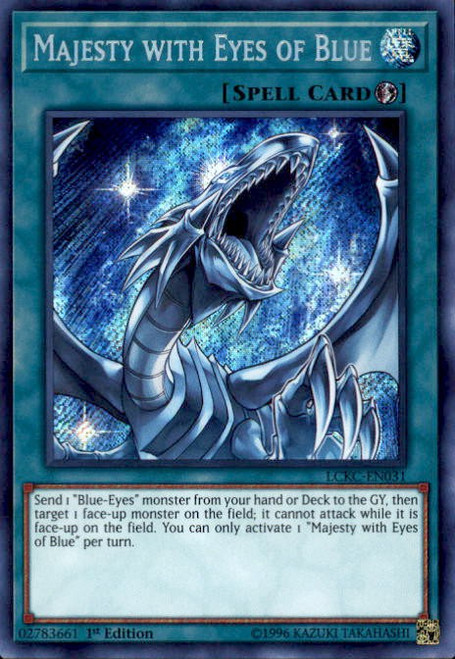 YuGiOh Kaiba Legendary Collection Secret Rare Majesty with Eyes of Blue LCKC-EN031