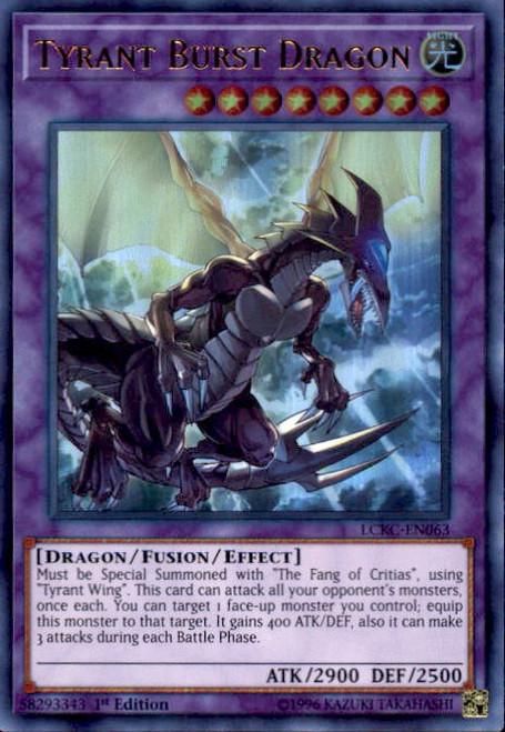 YuGiOh Kaiba Legendary Collection Ultra Rare Tyrant Burst Dragon LCKC-EN063