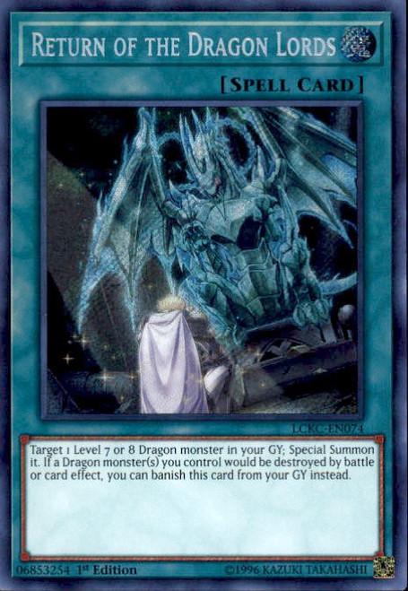 YuGiOh Kaiba Legendary Collection Secret Rare Return of the Dragon Lords LCKC-EN074