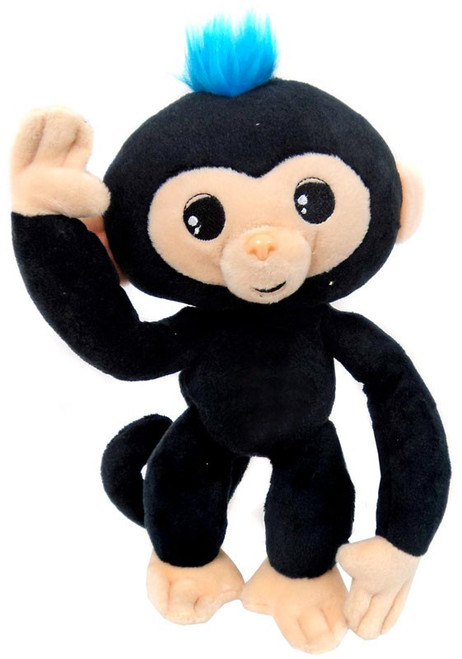 Fingerlings Baby Monkey Black with Blue Hair 10-Inch Plush with Sound