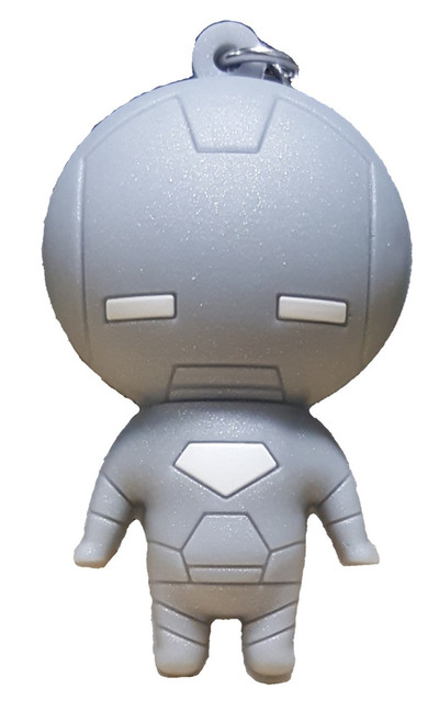 Marvel 3D Figural Keychains Series 1 Silver Iron Man Keyring [Loose]