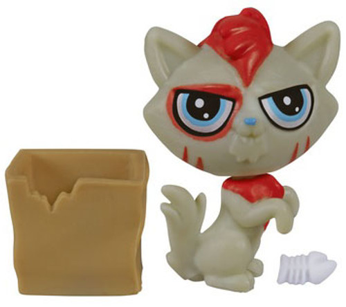 Littlest Pet Shop The Littlest Pets Collection Series 2 Red & Gray Cat with Box 1-Inch [Loose]