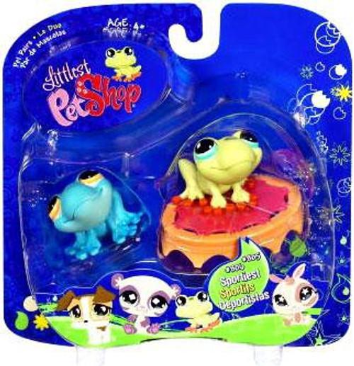 Littlest Pet Shop 2009 Assortment A Series 1 Frog Figure 2-Pack #804, 805 [Blue & Green with Trampoline, Loose]