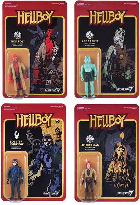 ReAction Hellboy Series 1 Hellboy, Abe, Lobster & Liz Set of all 4 Action Figures