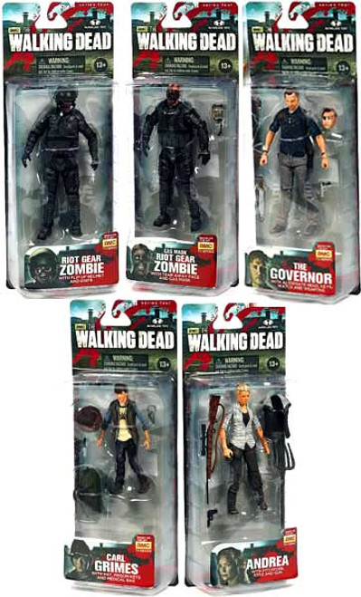 McFarlane Toys The Walking Dead AMC TV Series 4 Carl, Andrea, Governor, Riot Gear & Gas Mask Zombies Set of 5 Action Figures