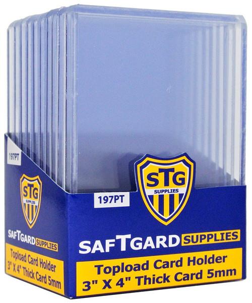 "SafTgard 3"" x 4"" Premium 5mm Thick Toploader 197pt Card Holders [10 Count]"