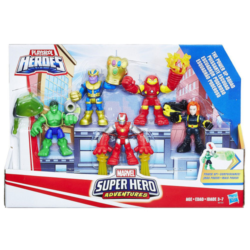 Marvel Playskool Heroes Super Hero Adventures Power Up Squad Action Figure 5-Pack [Thanos, Black Widow, Hulkbuster, Iron Man & Hulk]