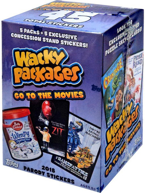 Wacky Packages Topps Go to the Movies Trading Card Sticker BLASTER Box [5 Packs + 5 Exclusive Concession Stand Stickers!]