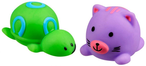JigglyDoos Green Turtle & Purple Cat Squeeze Toy 2-Pack