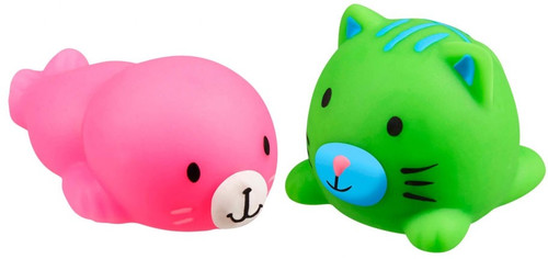 JigglyDoos Pink Seal & Green Cat Squeeze Toy 2-Pack