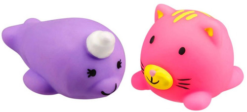 JigglyDoos Purple Narwhal & Pink Cat Squeeze Toy 2-Pack