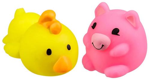 JigglyDoos Yellow Chicken & Pink Pig Squeeze Toy 2-Pack
