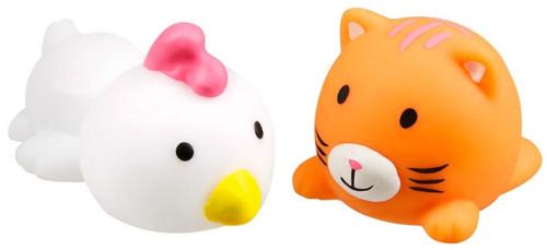 JigglyDoos Series 1 White Chicken & Orange Cat Squeeze Toy 2-Pack