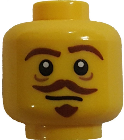 Brown Goatee and Moustache Minifigure Head [Yellow Loose]