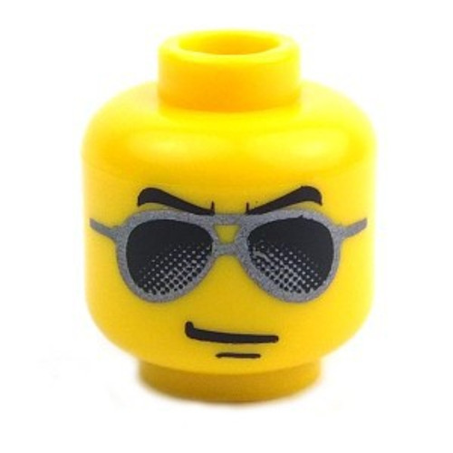 Black and Silver Sunglasses, Chin Dimple Minifigure Head [Yellow Loose]