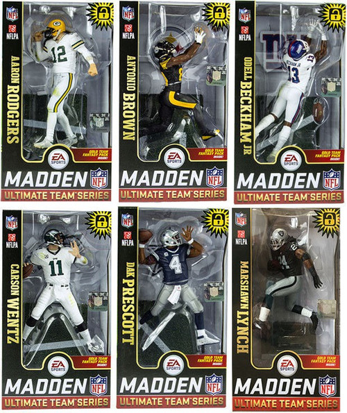 McFarlane Toys NFL EA Sports Madden 19 Ultimate Team Series 1 Rodgers, Prescott, Wentz, Brown, Beckham Jr. & Lynch Set of 6 Action Figures