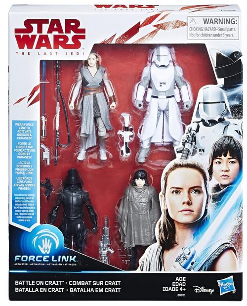 Star Wars The Last Jedi Battle on Crait Action Figure 4-Pack [Rey, Rose, First Order Snowtrooper & First Order Gunner]