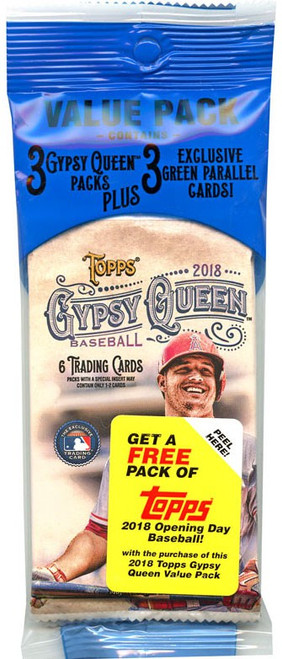MLB Topps 2018 Gypsy Queen Baseball Trading Card VALUE Pack [3 Packs & 3 Green Parallel Cards]