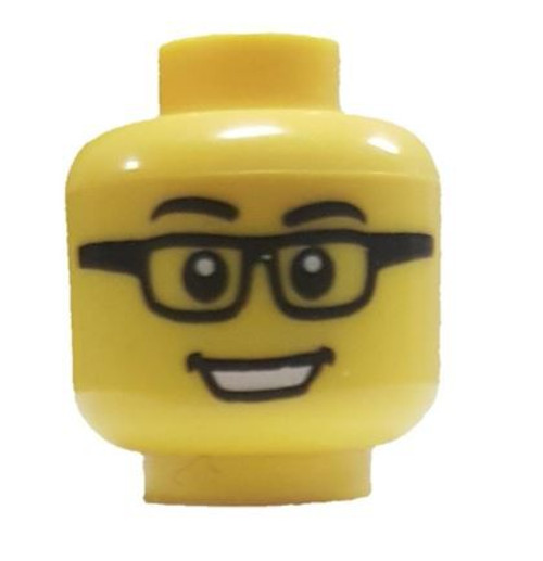 Rectangular Glasses with Black Eyebrows Minifigure Head [Yellow Loose]