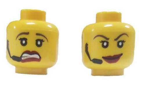 Red Lips, Headset, Scared / Smile Female Minifigure Head [Dual-Sided Print Loose]