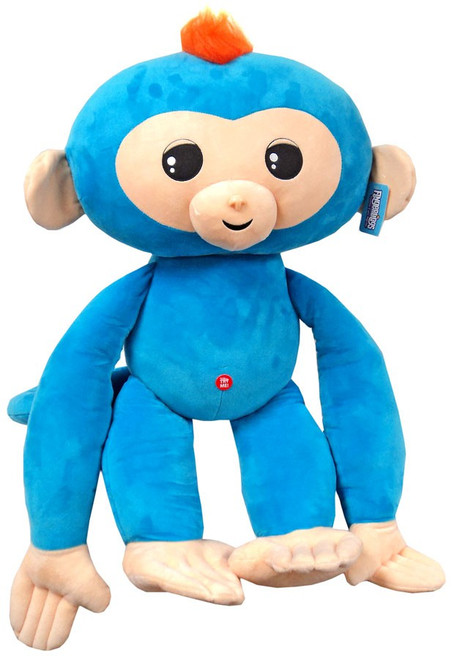 Fingerlings Baby Monkey Blue with Orange Hair 27-Inch Jumbo Plush with Sound