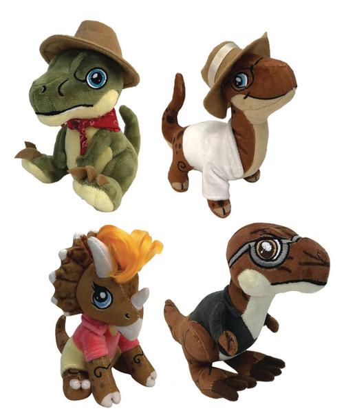 Jurassic Park Clawzplay Ellie (Triceratops), John (Brontosaurus), Alan (Raptor), & Ian (T-Rex) Set of 4 Plush Toys