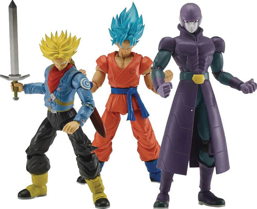 Dragon Ball Super Dragon Stars Series 3 SSGSS Goku, SS Future Trunks & Hit Set of 3 Action Figures [Fusion Zamasu Build-a-Figure]