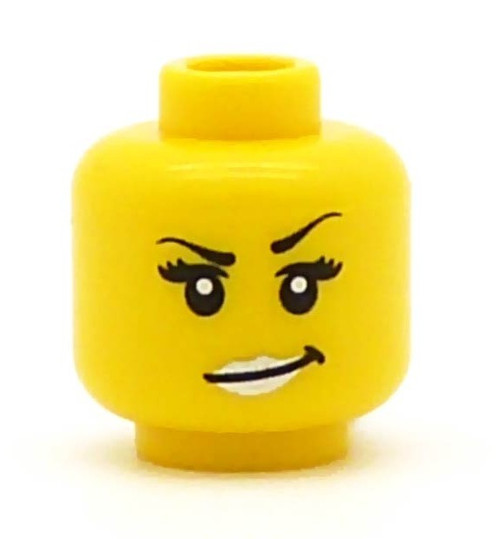 Female with Silver Lips Minifigure Head [Yellow Loose]