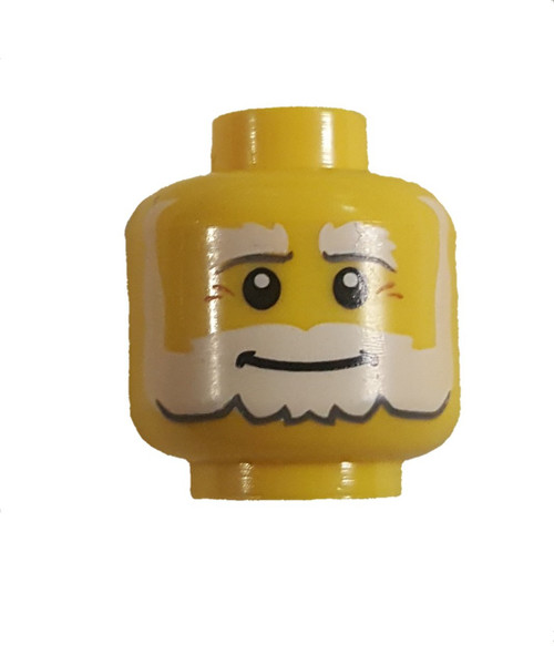 White Beard and Bushy Eyebrows Minifigure Head [Yellow Loose]