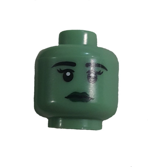 Green with Dark Green Lips Female Minifigure Head [Loose]