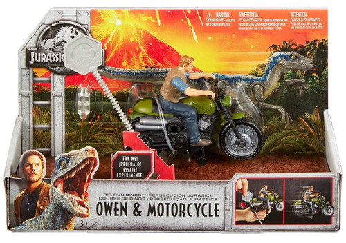 Jurassic World Fallen Kingdom Rip Run Dinos Owen & Motorcycle Action Toy