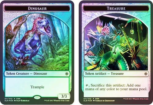 MtG Friday Night Magic Promo City's Dinosaur / Treasure Token [FNM 2018]