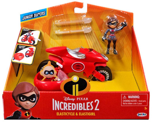 Disney / Pixar Incredibles 2 Junior Supers Elasticycle & Elastigirl 3-Inch Vehicle